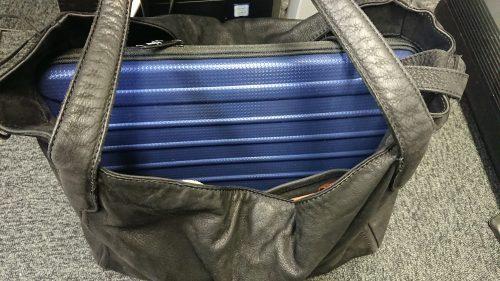 キャリングケースをかばんに入れた写真